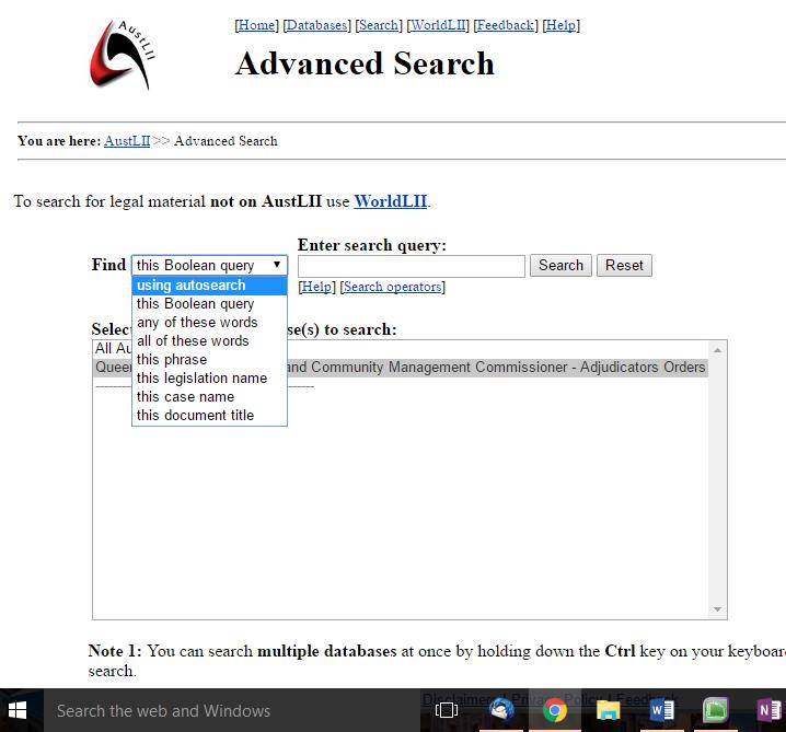 Adjudicators Order Search Change Boolean Query
