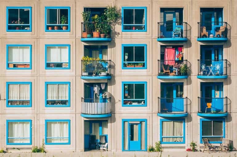 blue balcony balustrades